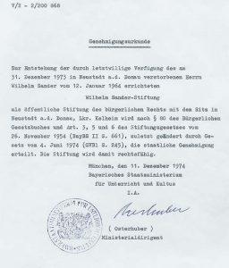 Gründungsdokument der Stiftung: Genehmigungsurkunde vom 11. Dezember 1974